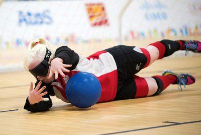 Semi Final Goalball Action - CAN 5 vs USA 6 in women's play - Whitney Bogart. Photo: Dan